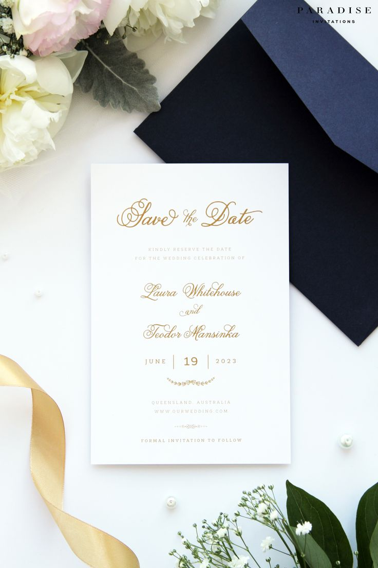 Laura Gold and Navy Save the Date cards, Modern Calligraphy Save the Date card, Chic Wedding Stationery, Golden Wedding Stationery