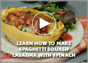 This yummy Spaghetti Squash recipe boosts fiber AND cuts carbs in half!!! You seriously need to try this!