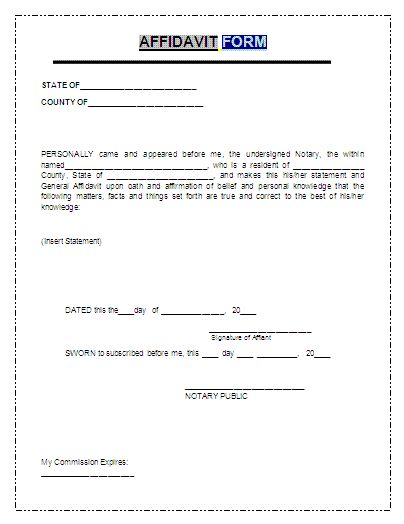 Printable Sample Affidavit Form Form
