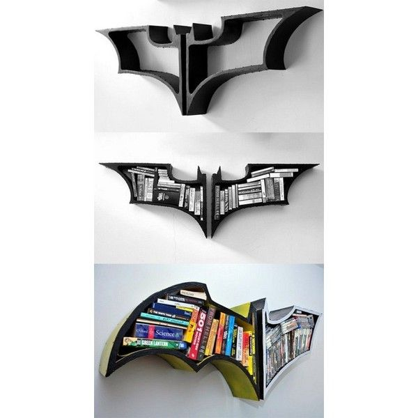 3' New style Batman Shelf, Batman Shelf ❤ liked on Polyvore featuring decor, comic, game, video game, wood home decor and wooden home decor