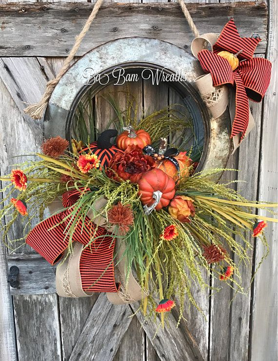 Fall Swag, Autumn Swag, Deluxe Fall Wreath, Fall Wreath, Fall Decor, Autumn Wreath, Autumn Decor, Halloween Wreath Make your door/wall or entry and inviting welcome to the warm colors of Autumn. Give Thanks In All Things  A Stunning Fall beauty, each material used to create this head turner is rich in fine details! A rustic mix of brown, burnt orange, copper and burlap makes such an inviting statement for Fall! Made in a metal galvanized tire and filled with a gorgeous assortment...