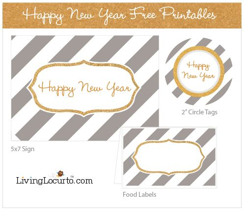 "Can't believe the new year is almost here? Check out Living Locurto's free New Year's printables for a quick way to decorate for your New Year's Eve party. You can download a ""Happy New Year"" sign, food labels and circle tags."