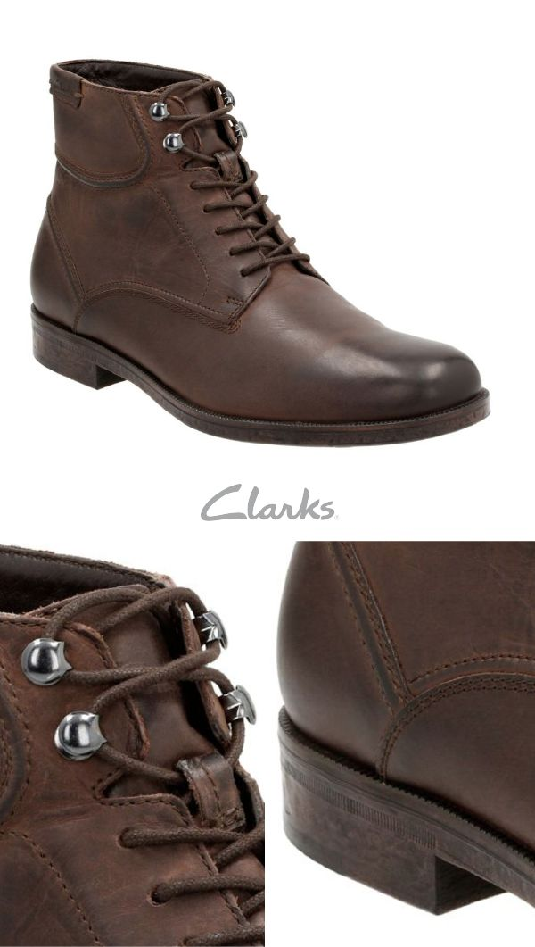 Look rugged and refined in Clarks Brocton Hi dark brown leather boots. Keeping you comfortable throughout the day and into the night, these classic lace-up boots are perfect to wear when hiking or out on the town.