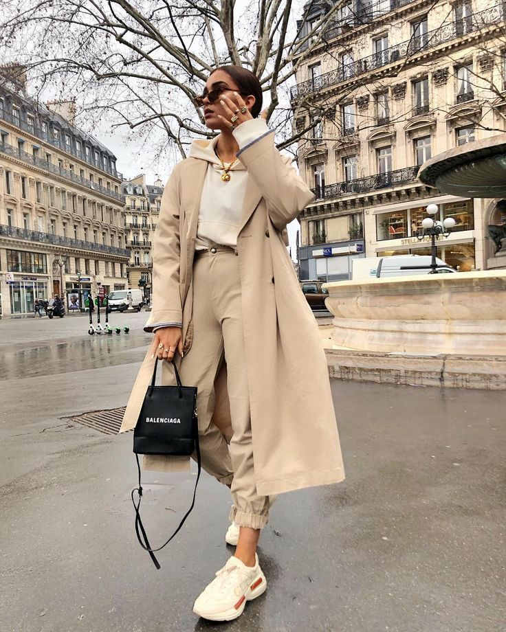 """Alicia Roddy on Instagram: """"Touchdown in Paris"""" – so happy that I finally found pants that fit this trench. They are @missyempire, linked in the story, but the ditch is … """""""