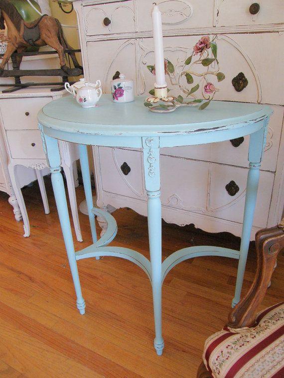 Antique Table Shabby Chic Aqua Blue Entry Foyer Distressed Coastal Beach  Cottage