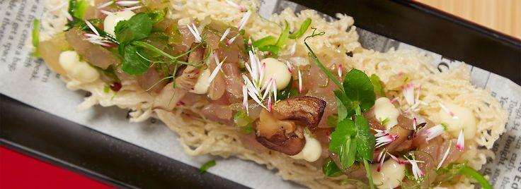 Krokante rijstvermicelli met tartaar van albacore tonijn