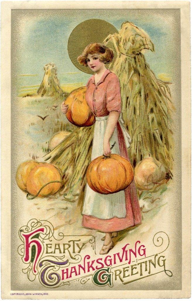 Vintage Thanksgiving postcard, illustrated by John Winsch, 1910