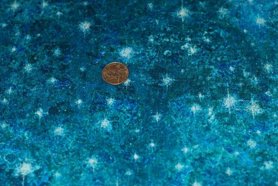 Starry night sky blue fabric christmas cheer ho ho ho for Starry sky fabric