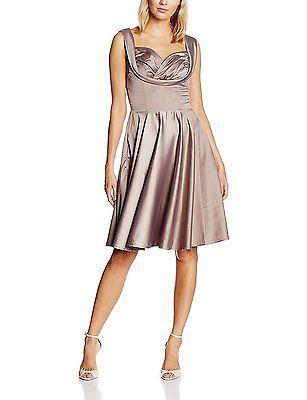 20, Grey (Grey), Lindy Bop Women's Ophelia Mink Grey Dress NEW