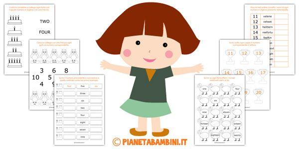 Schede sui numeri in inglese da 1 a 20 per bambini da stampare gratis