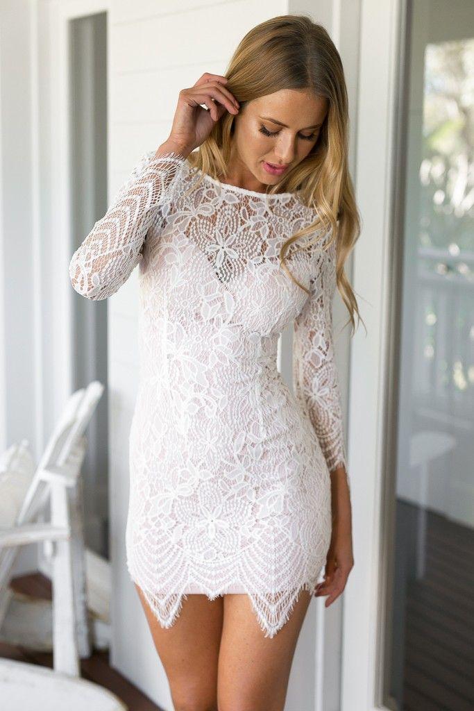 White Long Sleeve Lace Bodycon Dress #ustrendy www.ustrendy.com