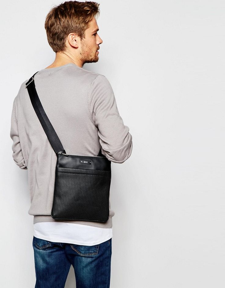 Image 3 ofHugo Boss Weave Leather Flight Bag