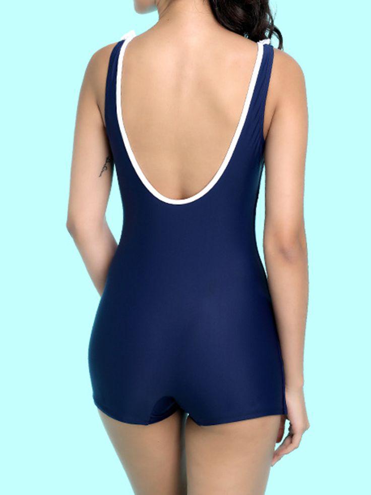 Comfort Low U Back One Piece Wire Free Solid Color Multi Style Tankini Vest Swimwear For Women