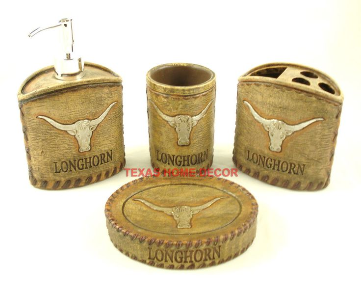 Western Rustic Longhorn Bathroom Accessory Set 4 Pieces Soap Dish Dispenser