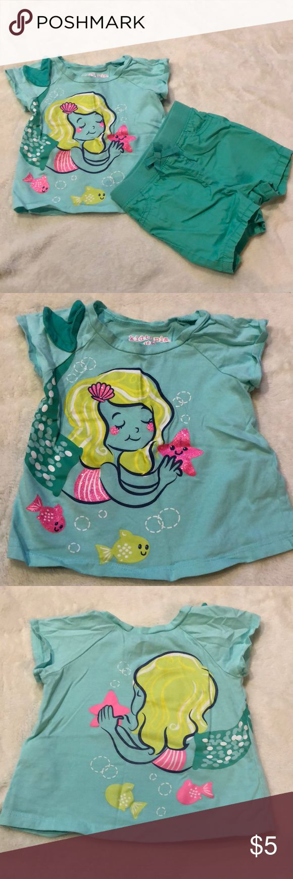 Teal shorts with mermaid top. 18mo Smoke free pet free home. Worn maybe one time. Matching Sets