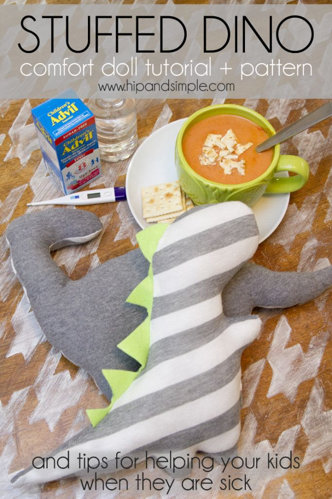 Stuffed Comfort Cuddle Dino Tutorial. Great tips for preparing for sick season and helping your kids through it! #fightfever #ad