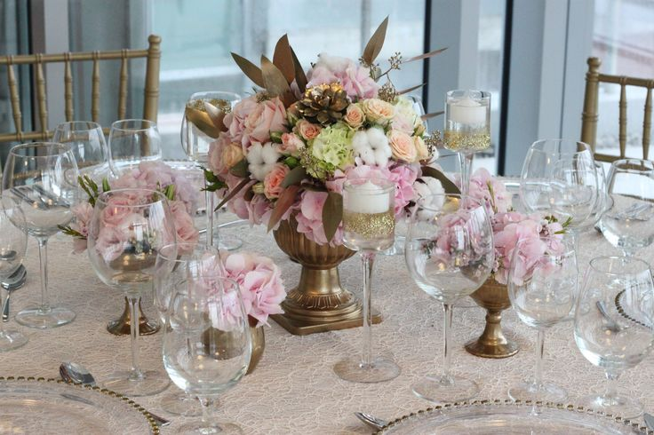 Gold&pink centerpiece