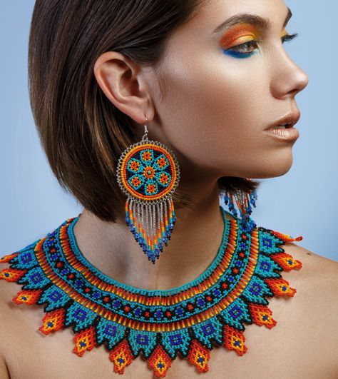 Native American Beaded Necklace Huichol by BiuluArtisanBoutique