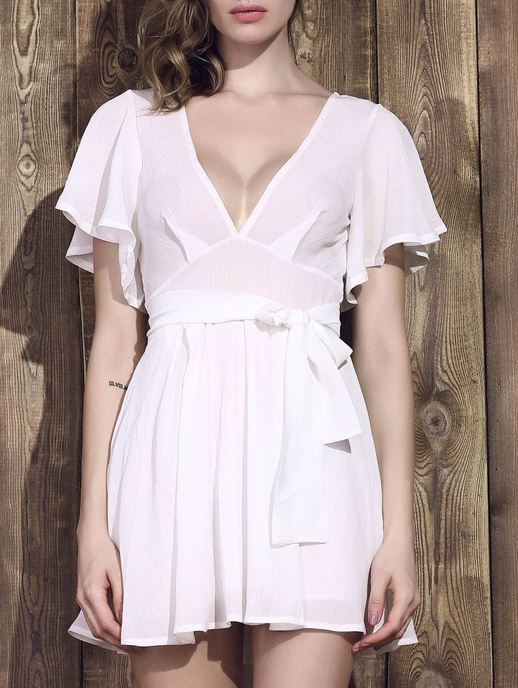 Sexy Half Sleeve Plunging Neck White Low-Cut Dress For Women #shoes, #jewelry, #women, #men, #hats, #watches
