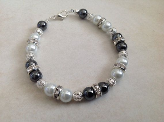 White Glass Pearl and Hematite Beaded Bracelet