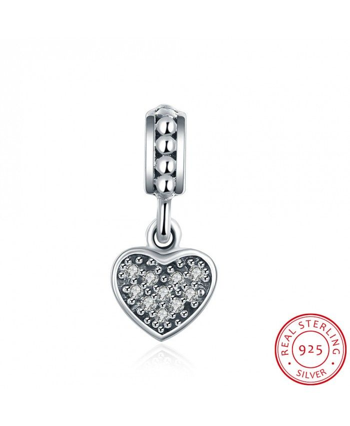 925 Sterling Silver Bracelet Of White Charms