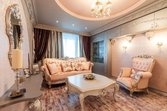décoration baroque, murs rose pastel, rideau baroque, plafond suspendu, meubles de charme
