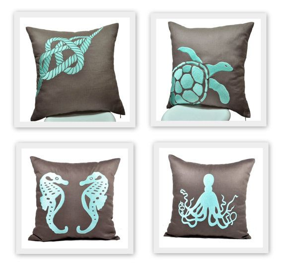 Nautical Pillow Covers Throw Pillow Covers set of 2 Taupe