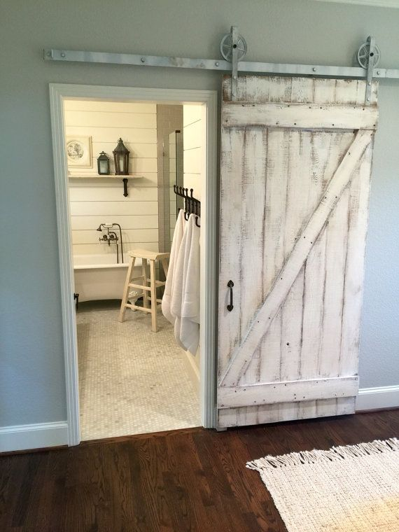 Shabby Chic Z Sliding Barn Door White Barn Door In 2018 Bathroom