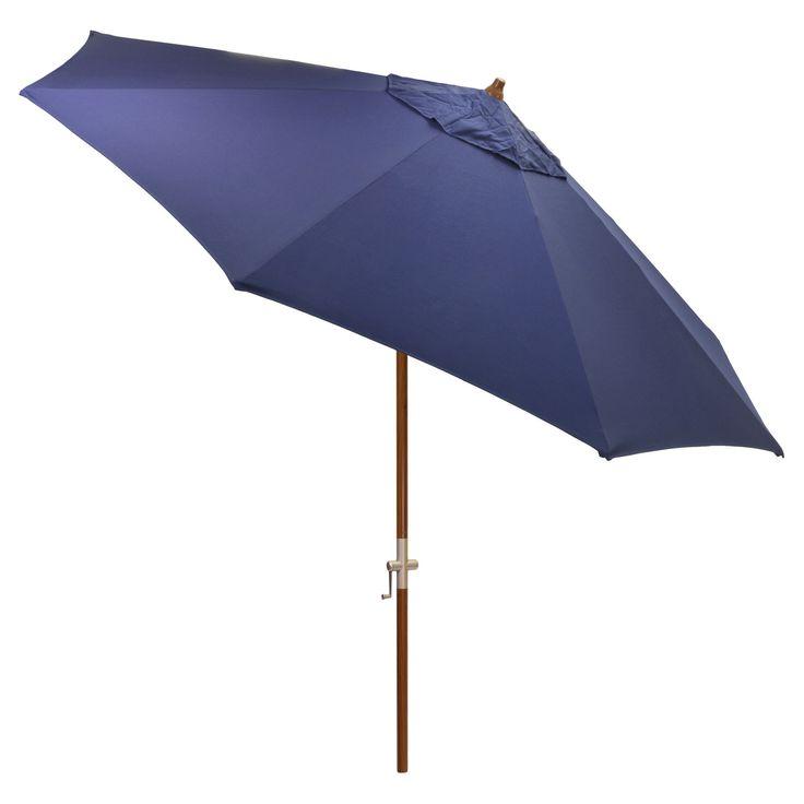 9' Round Sunbrella Umbrella - Canvas Navy (Blue) - Medium Wood Finish - Smith & Hawken