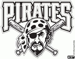 Pittsburgh Pirates logo, professional baseball team based in Pittsburgh, Pennsylvania. National League Central Division coloring page