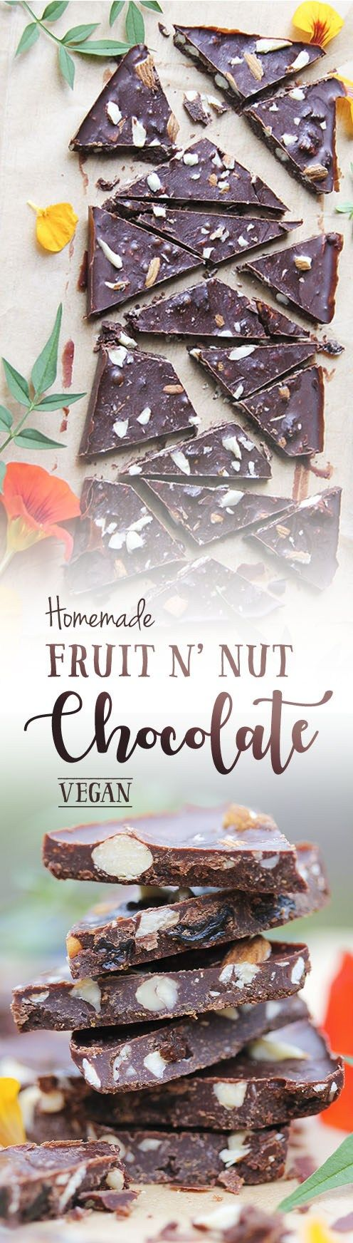 Homemade vegan fruit n' nut chocolate recipe by Trinity with cacao and lucuma