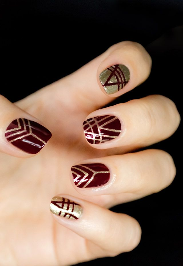 art deco nails in maroon and gold www.finditforweddings.com Nail Art