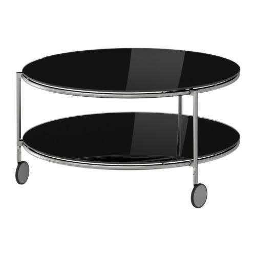 Strind runt soffbord svart glas 75 cm från IKEA