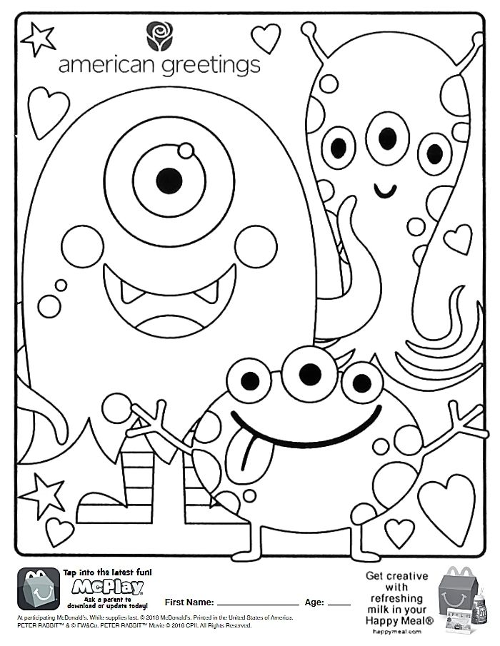 Here Is The Happy Meal American Greetings Coloring Page Click The