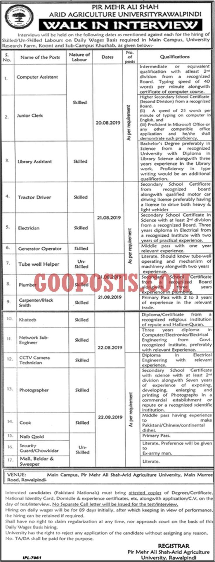 Pir Mehar Ali Shah Arid Agriculture University Jobs For
