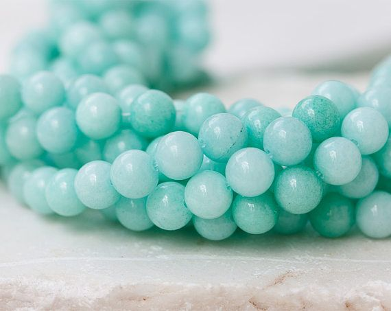 2616_ Mint nephrite beads 8mm, Natural nephrite, Light blue jade, Nephrite beads, Natural gemstones Blue jade beads Round semiprecious stone
