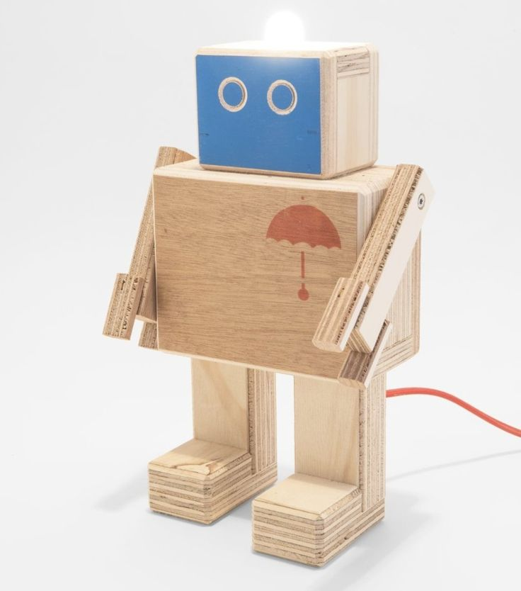 Rijkswachter Medium Robot With Lamp by studio hamerhaai made in Netherlands on CROWDYHOUSE  #wooden #decor #robot #lamp