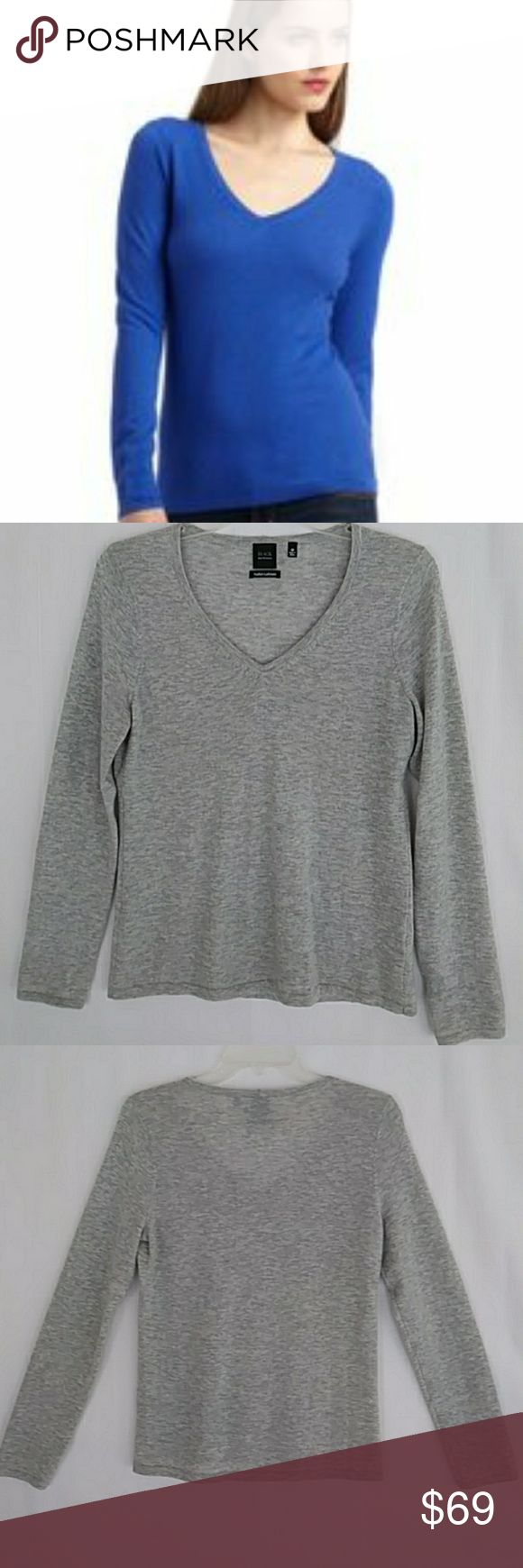 "Just in! 100% Cashmere SAKS (Black Label) - Gray Like New SAKS FIFTH AVENUE ""Black Label"" Feather Cashmere V-Neck in soft gray. A luxurious wardrobe staple. Fitted, V-neck, long sleeves, pullover  Exceptional preloved condition. Purchased retail, worn less than handful of times as the piece more conforming than owner hoped. 100% cashmere. Soft gray (color accurately depicted in photo #4). Size M. Flat measure - Chest: 17"", Length: 23.5"", Sleeve: 23.5""  Last sold Saks Off 5th $104., currently…"