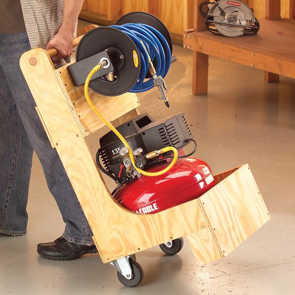 Effortlessly wheel your air compressor where it's needed. No need for second trips to fetch hoses, tools and fasteners, they are all self contained in this handy, easy-to-build cart.