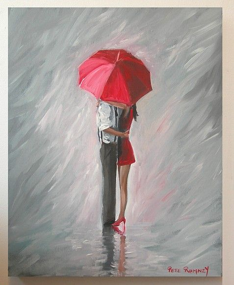 Pete Rumney Art A Moment in The Rain Painting Red Umbrella Classy Love