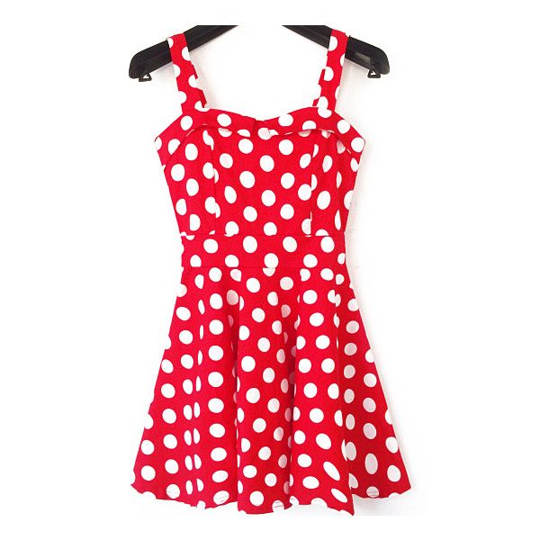 Spaghetti Strap Polka Dot With Bow Dress ($21) ❤ liked on Polyvore featuring red