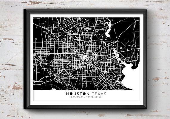 Houston Map with Coordinates Houston Map Map by IdeateCreateStudio