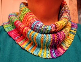 Knit- FREE!  Short-row cowl pattern.  Great for using up leftover yarn!  Stash-buster!! Gonna make this wide and long (to cover up head & ears for cold winter days).  ~ Nancy