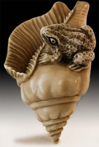 Antique Japanese Carved Ivory Toad on Seashell Netsuke Signed Tomomasa