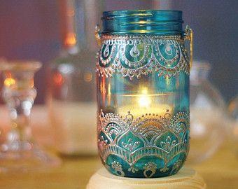 Dehna inspiriert Einmachglas Laterne heiße Rosa Glas mit