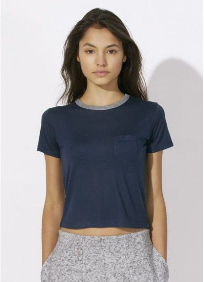Freya - ladies' cropped pocket tee made from Lenzing Modal® in French Navy. Fair trade and sustainably processed beechwood fibre. Made in Bangladesh. #beechwoodclothing #fairtrade #sustainableclothing