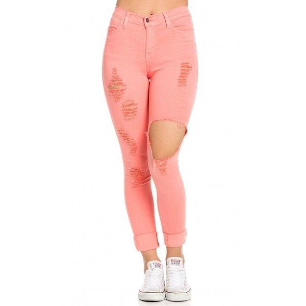 High Waisted Distressed Skinny Jeans in Coral ($45) ❤ liked on Polyvore featuring jeans, pants, ripped skinny jeans, high rise skinny jeans, high-waisted jeans, destroyed skinny jeans and white high-waisted jeans