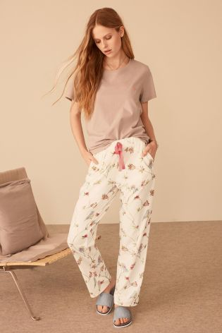 Grey/Cream Bird Print Jersey Pyjamas