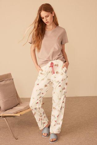 Grey/Cream Bird Print Jersey Pyjamas