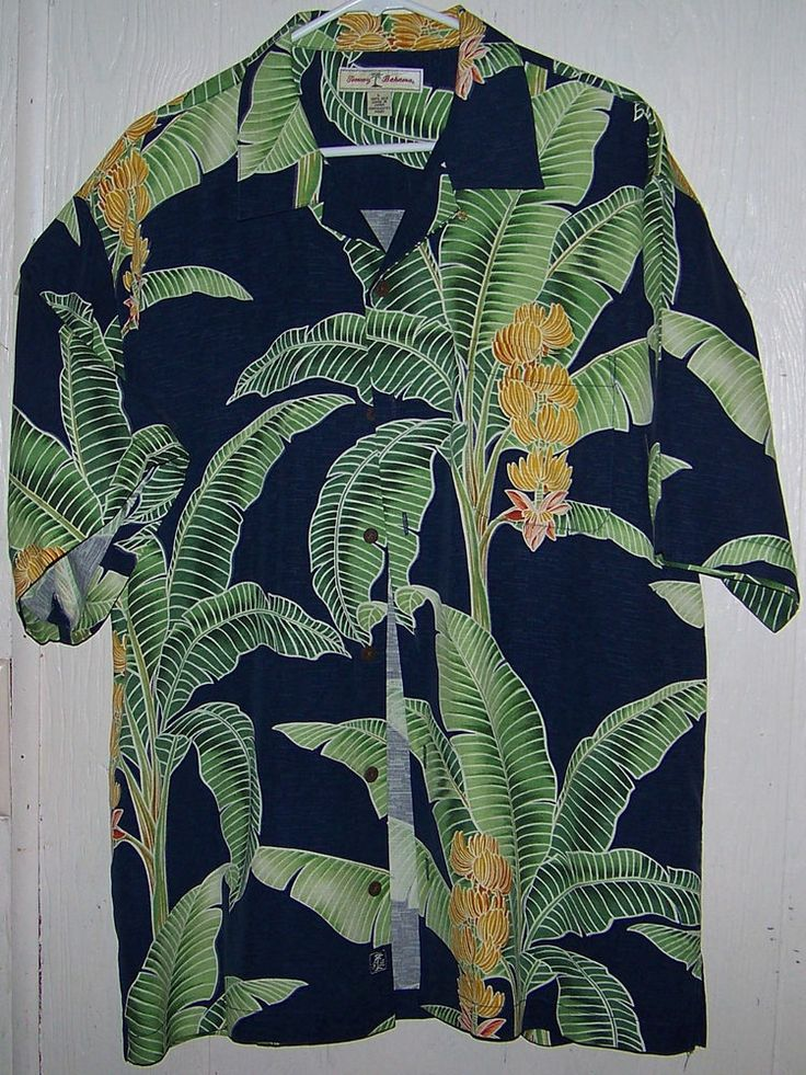 Tommy Bahama Hawaiian Camp Silk Shirt Large Mens Short